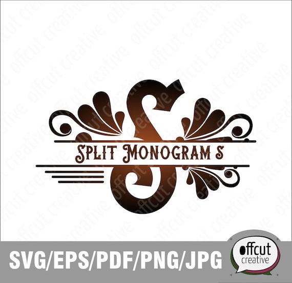 Silhouette and Cricut Svg Cutting File Regal Monogram Split Monogram SVG Divided Initial Split Letter R Svg