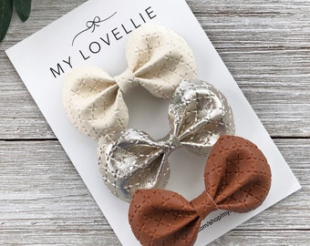 "3"" or 5/"" Brown\Orange\White Cleveland Browns Korker Hair Bow Handmade"