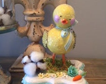 Paper Clay Spring Chick - Vintage Inspired