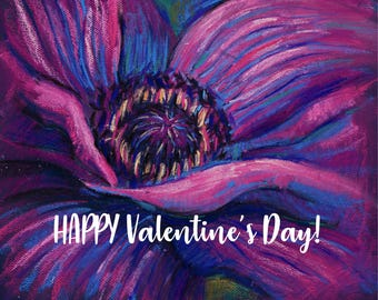 Valentine's Day - Valentine Card - Digital Floral ART Card - Flower cards - Gift for her - Anniversary - Floral painting