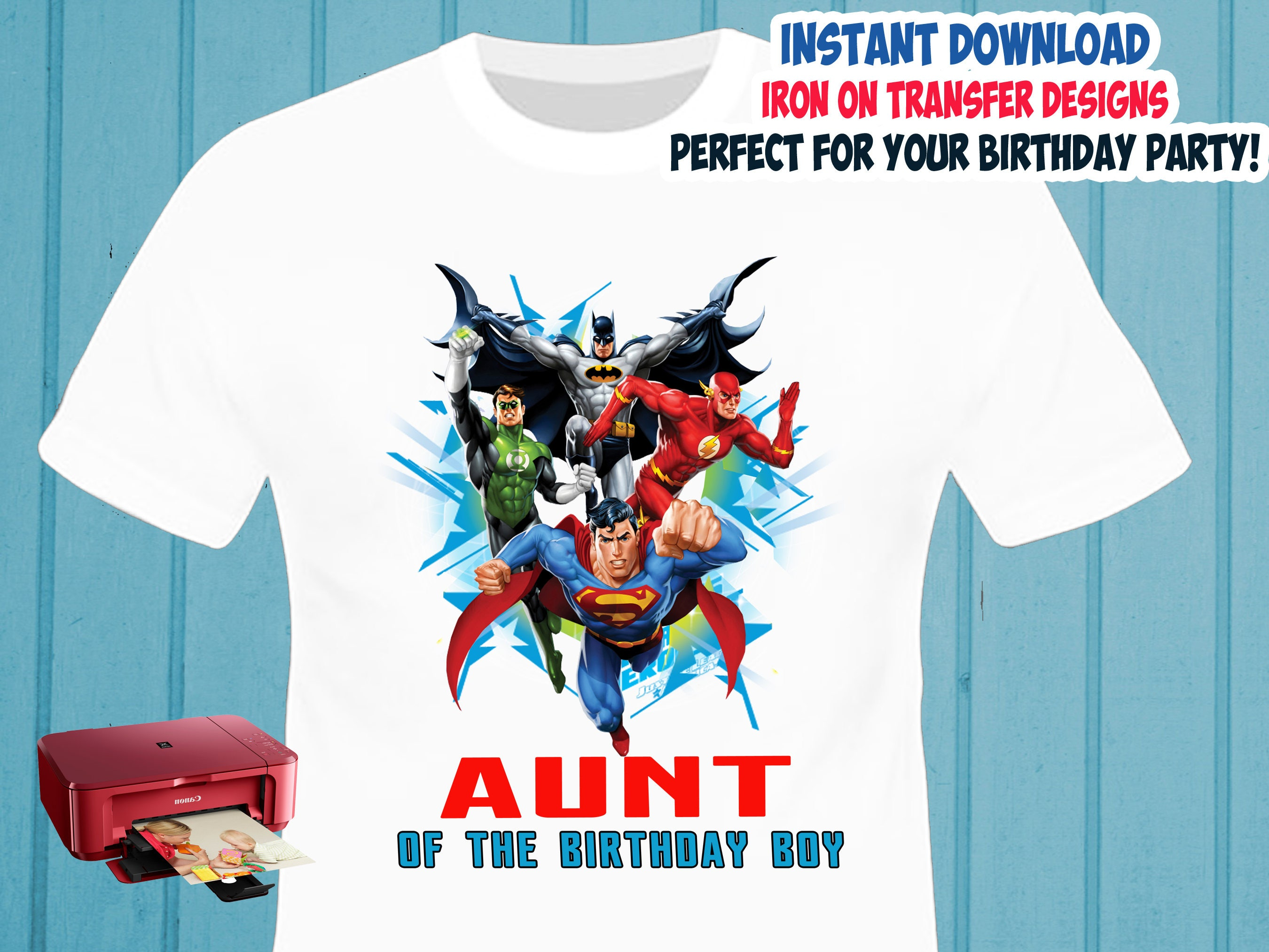 Justice League Iron On Transfer Aunt Birthday Shirt