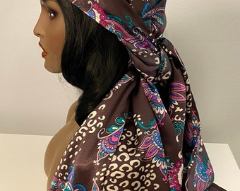 Long beautiful plum paisley print satin scarf, chemo scarves, neck scarves women, head wrap, Christmas gift scarf