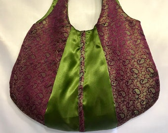 Pretty in purple paisley purse, bags, large purses, unique shoulder hobo handbag for woman, purple brocade purse, personalized gift for her