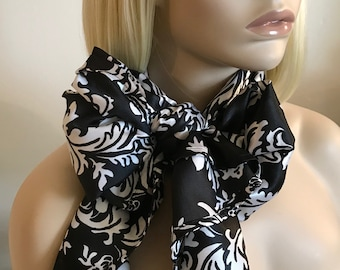 Delightfully daring damask black white satin long scarf, satin damask long scarf, womens scarves, long Christmas scarf