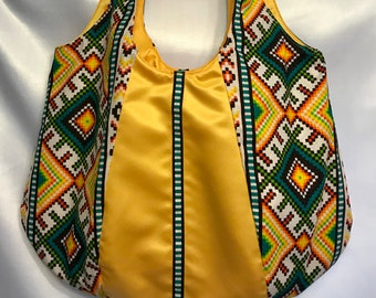 Daring yellow and green tribal bag, purses and bags, large purses, shoulder bag for woman, african tribal purse, personalized gift for her