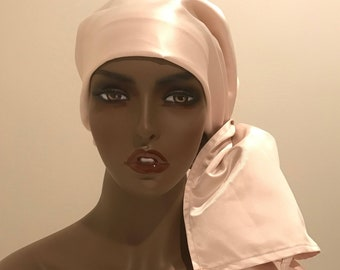 Elegant champagne satin head and neck scarf, champagne satin wedding , women's scarves, women's Christmas long scarf