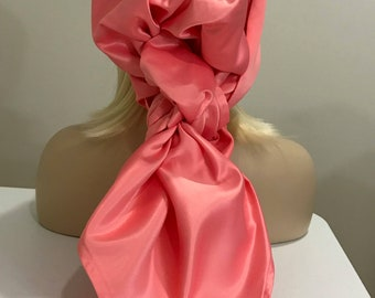 Long pink satin scarf, satin head wrap, satin, Christmas neck scarf, women's accessories, gifts for her