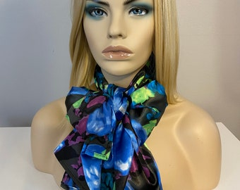 Long silky soft blue abstract satin scarf, chemo scarves, neck scarves for women, head wrap, Christmas gift scarf