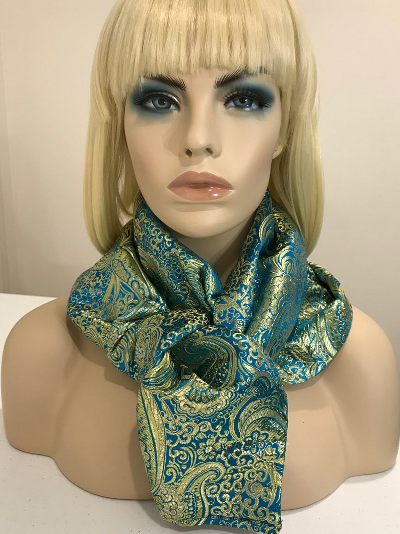 Elegant turquoise and gold brocade shawl and head wrap image 0