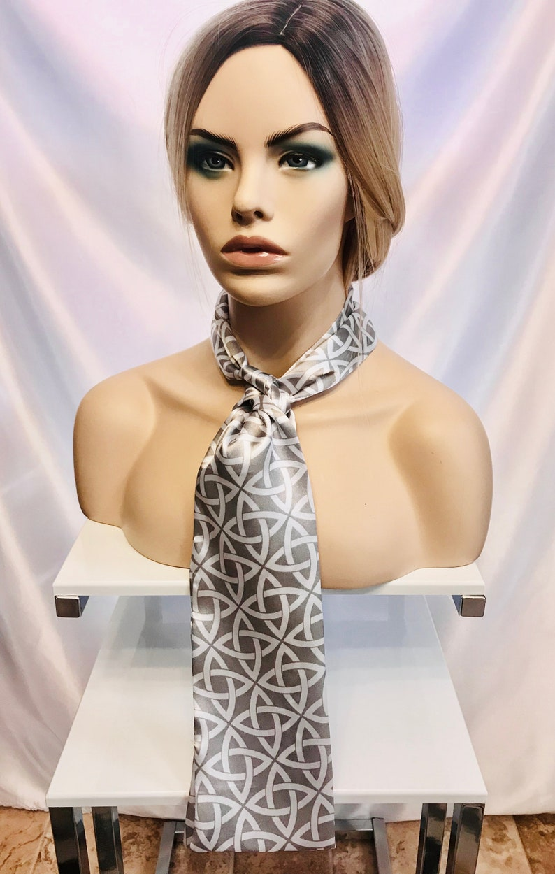 Silver and white abstract print skinny scarf long skinny image 0