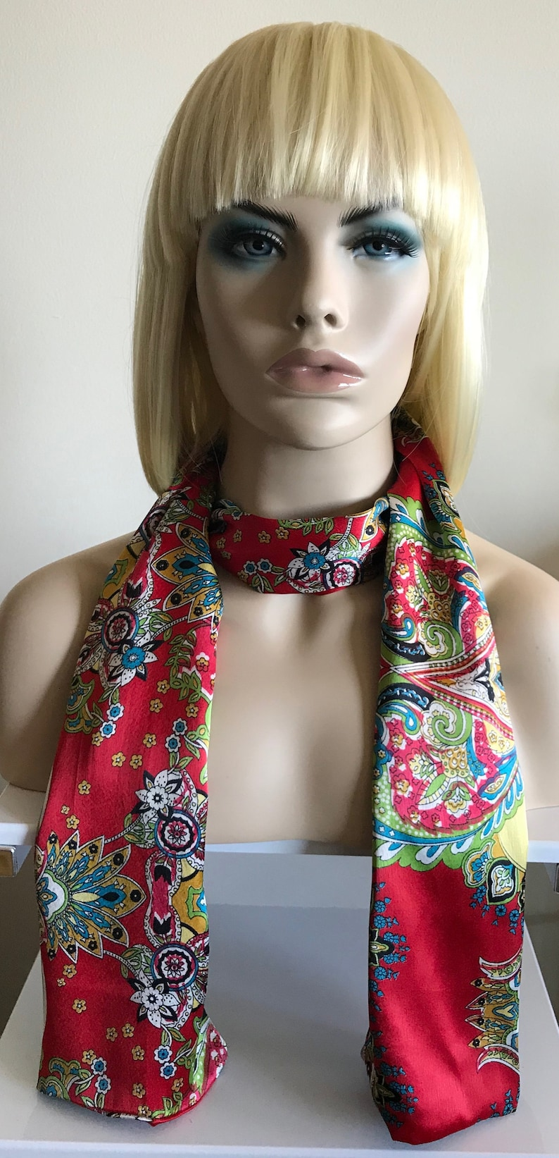 Red paisley silk scarf for women silk womens scarves satin image 0