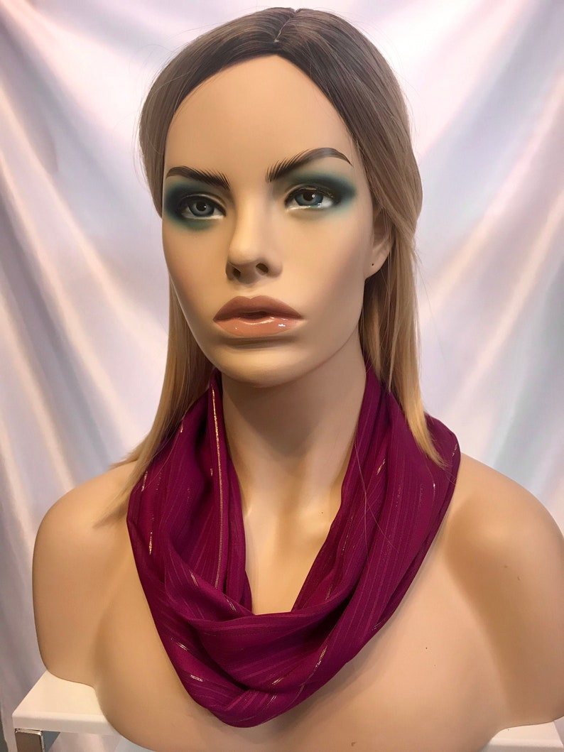 Chiffon infinity scarf dark red and gold infinity scarf image 0