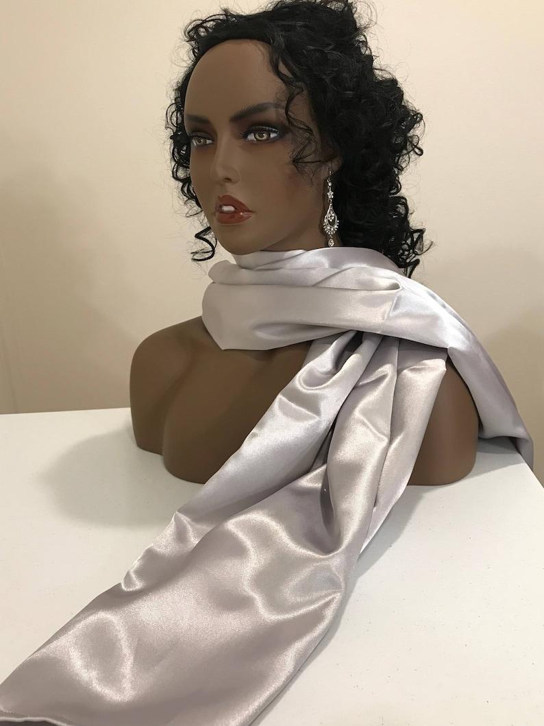 Silver bridal shiny long satin neck scarf and head wrap long image 0