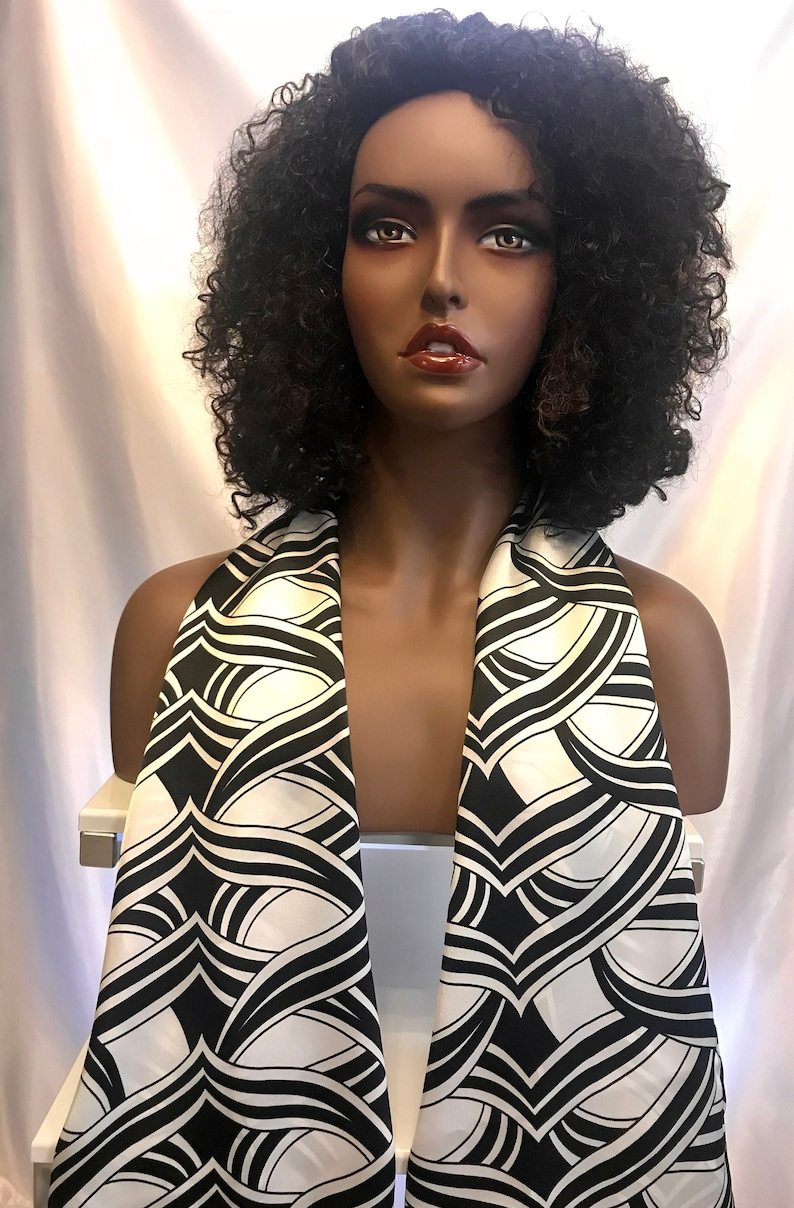 Long satin black and white abstract print scarf neck scarves image 0