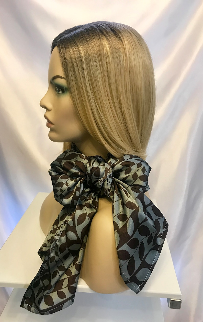Long silky gray print satin scarf scarf women tribal scarf image 0