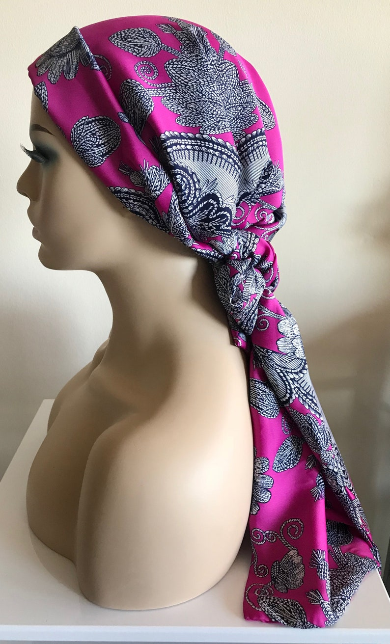 Pink floral head scarf head scarves chemo patients floral image 0