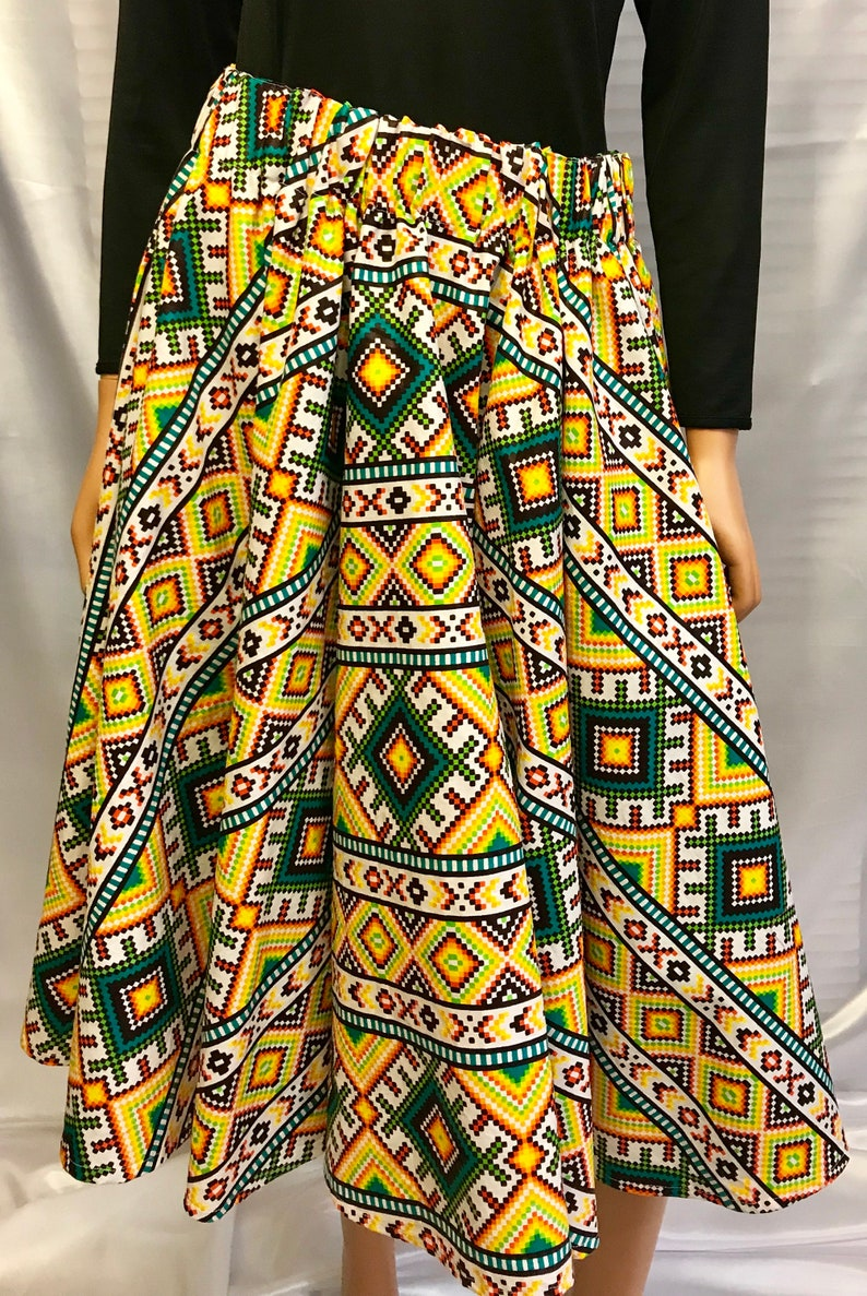 African yellow print midi skirt skirts for women african image 0