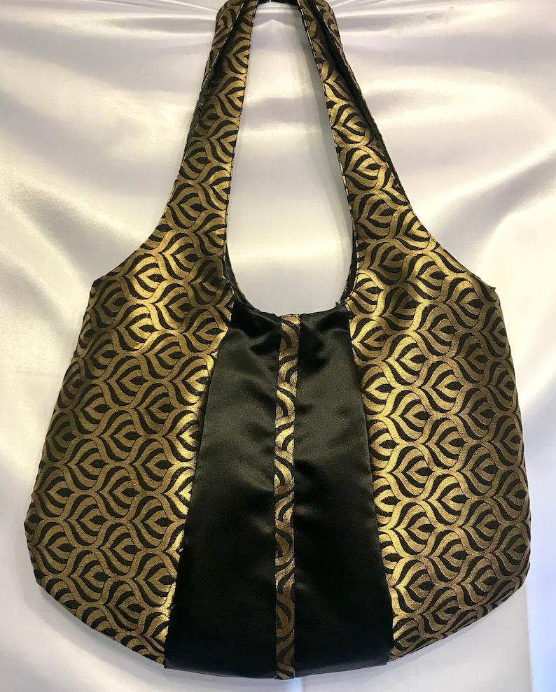 Elegant gold and black brocade purse large purses unique image 0