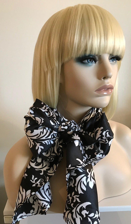 Delightfully daring damask black and white satin long scarf image 0