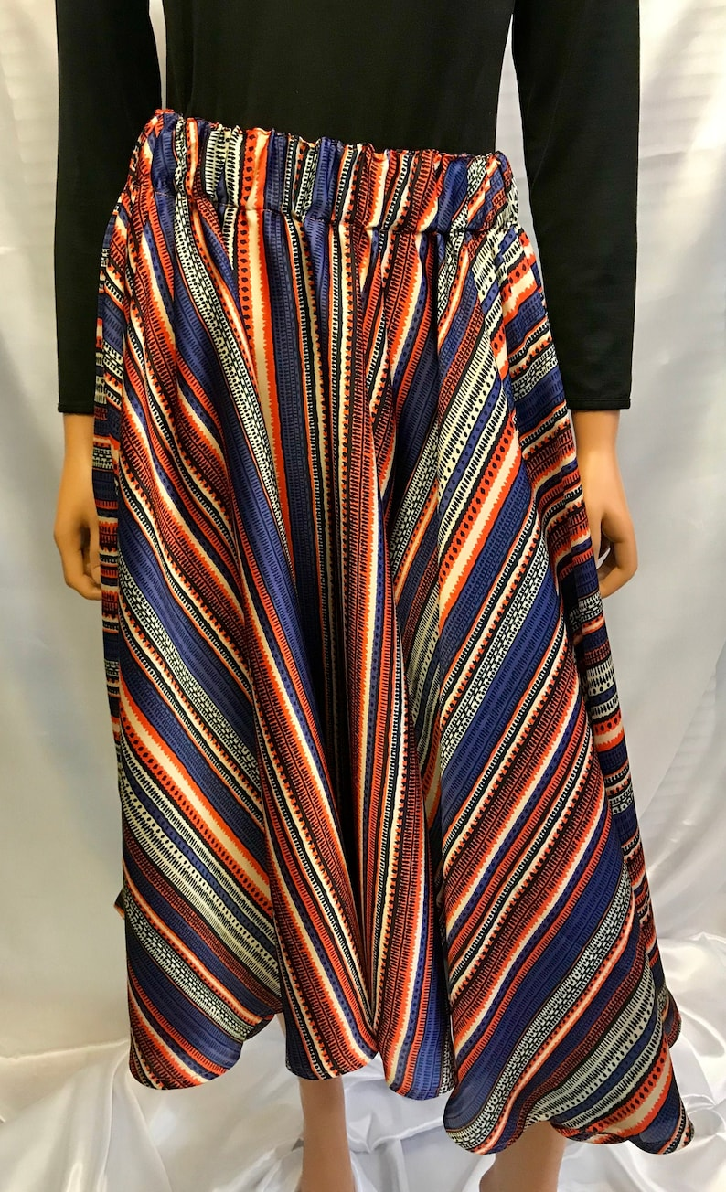 Satin striped print midi skirt skirt for women purple print image 0