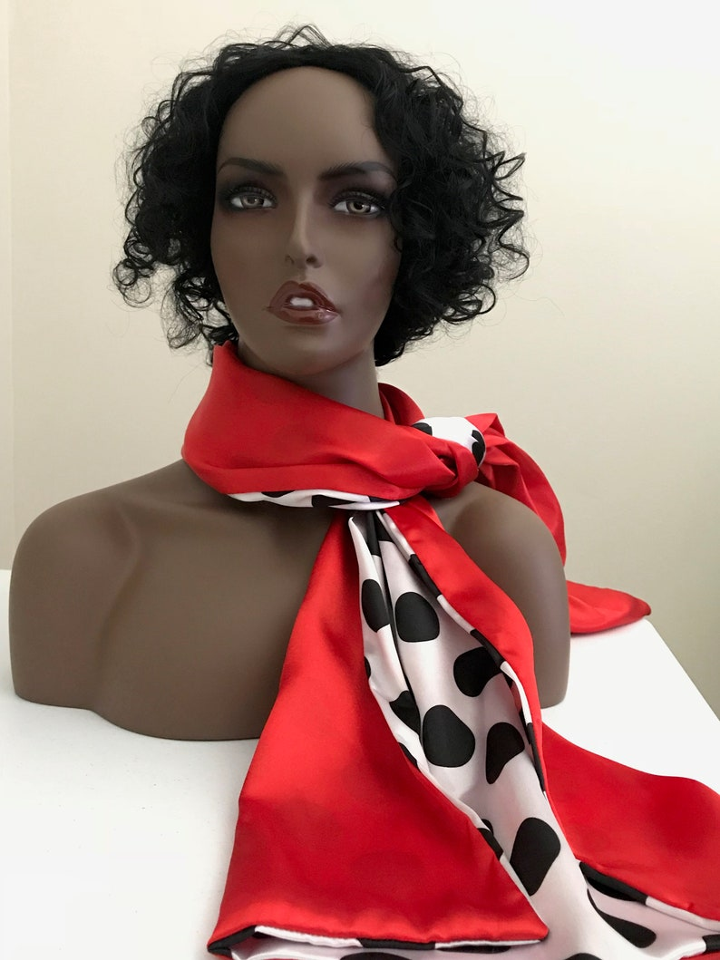 Long reversible red satin scarf with black and white polka image 0