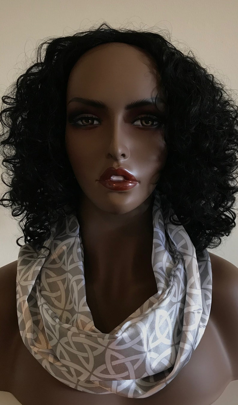 Sassy silver and white satin infinity scarf neck scarf image 0