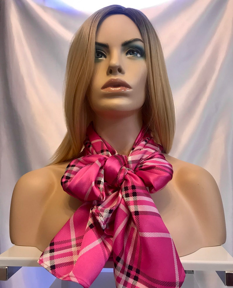 Hot pink plaid long satin scarf long scarves for women pink image 0