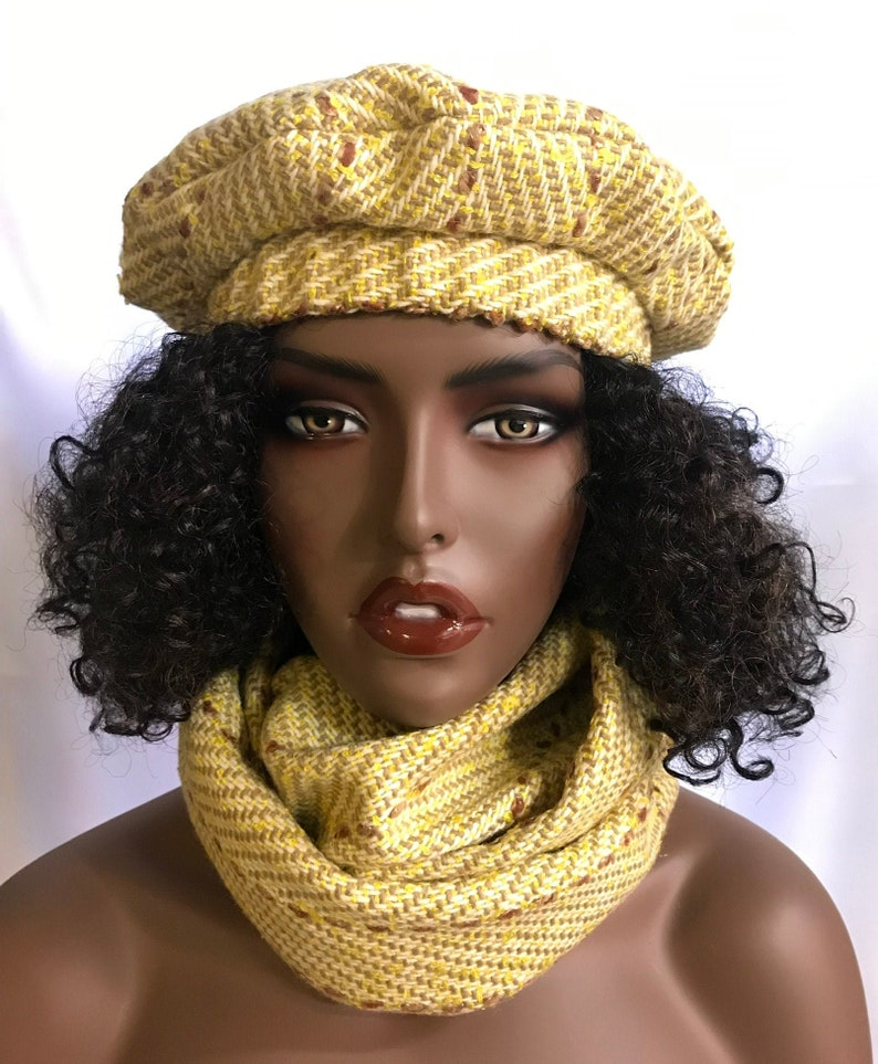 Chic canary yellow and brown striped herringbone wool beret image 0