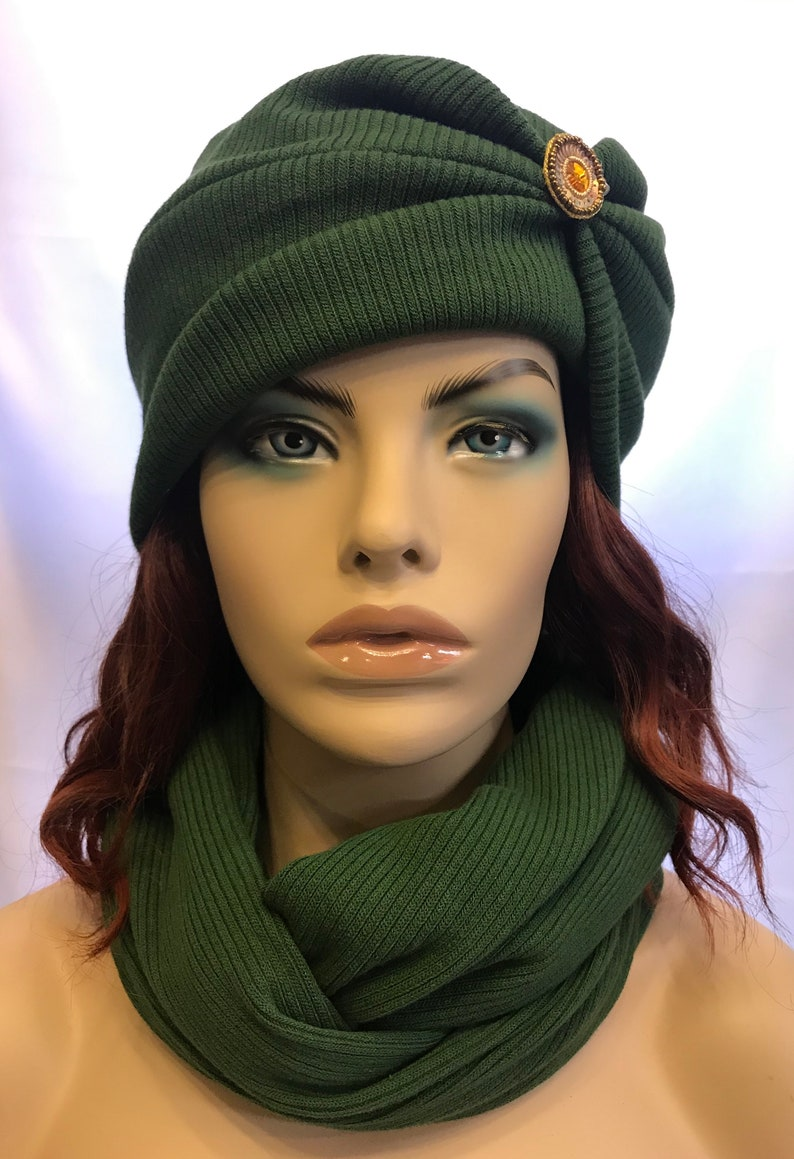 Unique and trendy green rib knit winter headband and infinity image 0