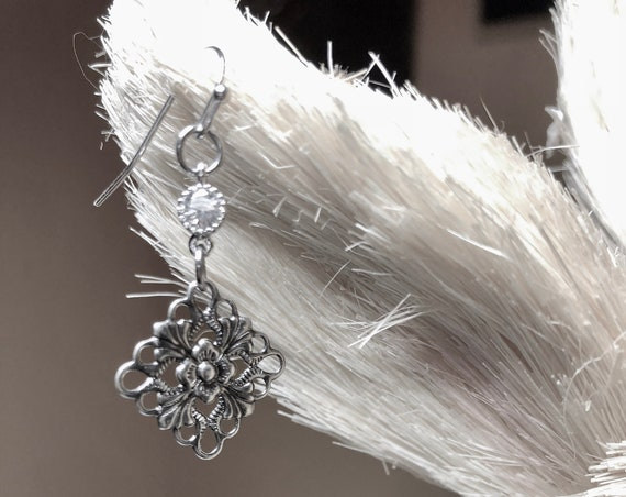 Handmade recycled drop ear rings with crystal and filigree silver colored metal diamond shaped drop