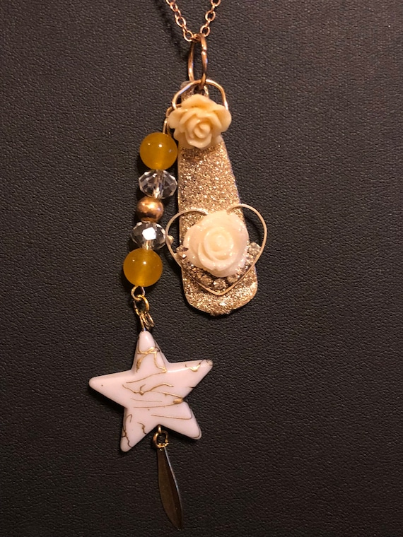 Golden Star Painted Spoon Necklace.  Recycled.
