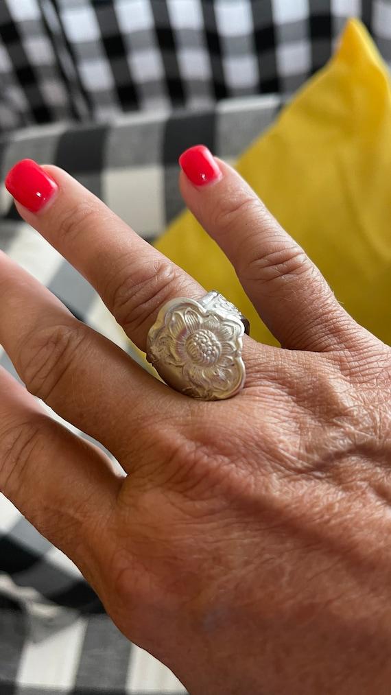 Handmade bent vintage Rogers Silver Orange Blossom pattern ring