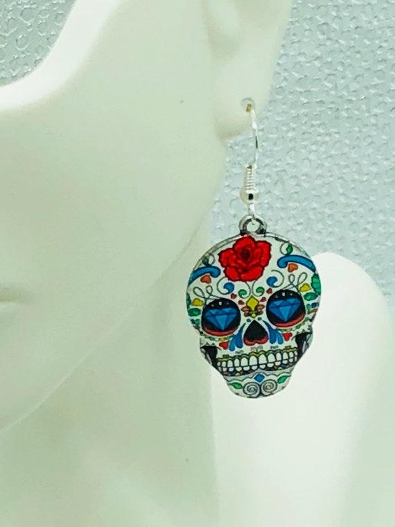 Hand made sugar skull earrings