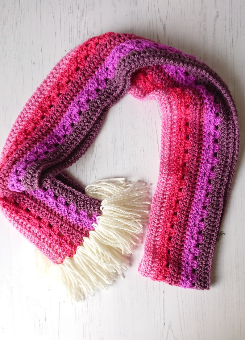 Pink Ombre Scarf Sale Reduced Crochet Scarf Fringed Etsy