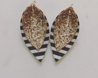 Black stripe/gold glitter leather earrings