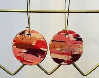 Watercolor circle dangle earrings