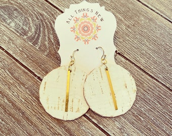 Cork white birch leather circles with brass bar earrings