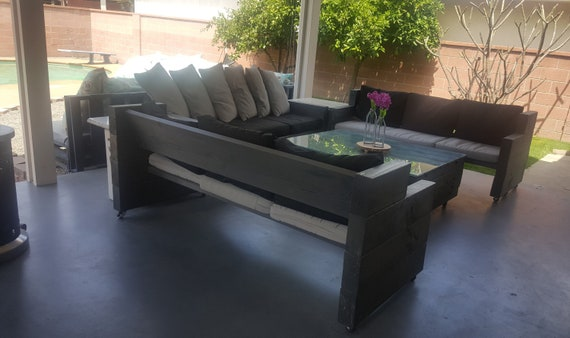 Outdoor Furniture Wood Patio Set Sofa and Table Comfy outdoor Sofa and Table Set
