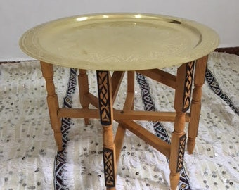Moroccan Traditional Table Engraved Cooper Tray Top Round Etsy