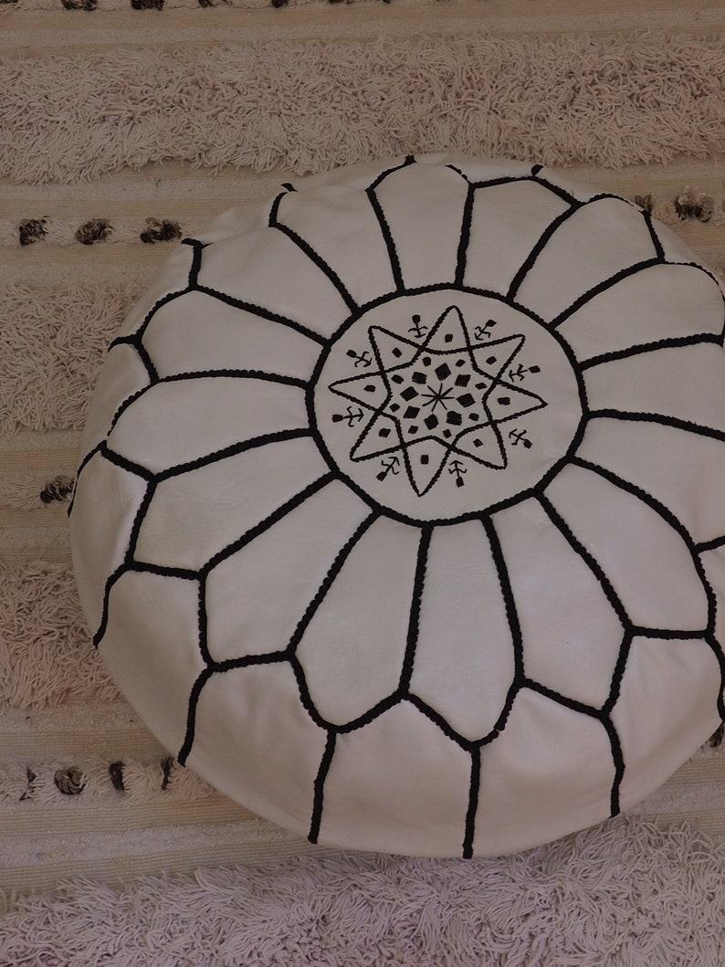 hight Quality Ottoman Ottoman pouff stool Footstool unstuffed ottoman 100/% Leather white Moroccan poufs