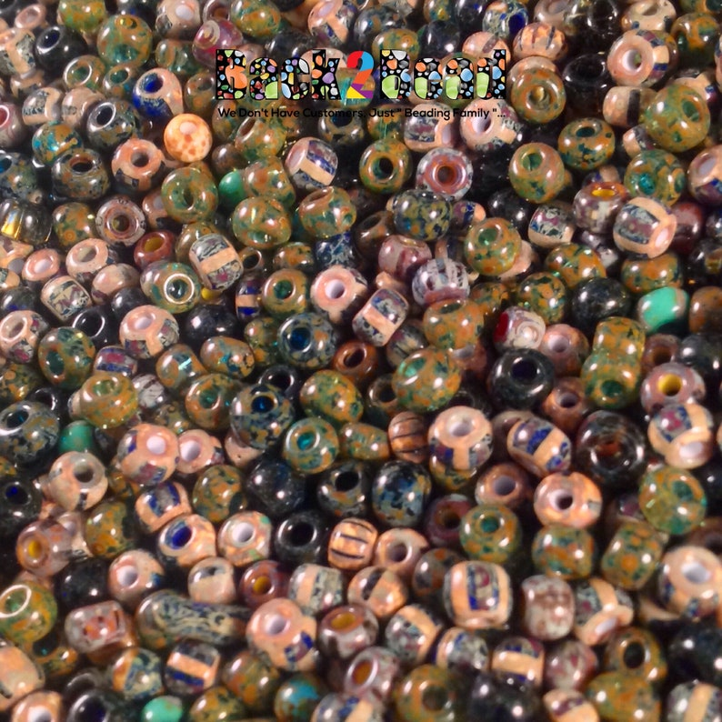 40 Aged Picasso Luster Stripe Multi Seed Beads 25 Grams