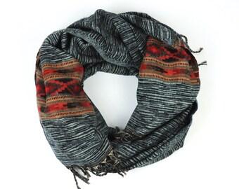 """Scarf, XXL scarf, woven scarf, scarf """"Ethnic pattern"""""""