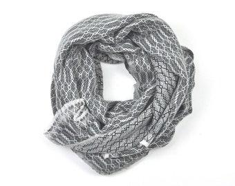 Cashmere scarf, soft shawl made of cashmere, big scarf  with herringbone pattern