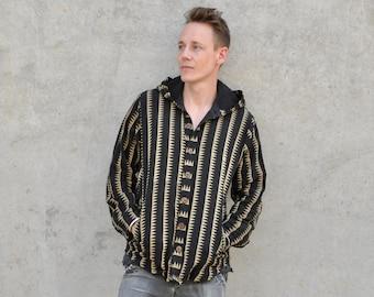 light autumn-spring jacket, Shirt with hood, unisex jacket cotton, boho jacket with geometric Pattern,  Hippie jacket