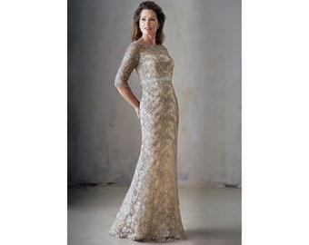 0d7f17a147e NEW Luxurious Couture Mother of Bride Groom Elegant Café Latte Mermaid Gown  Long Bateau Neckline Lavish Chelsea Lace MOB Ivory Dress Wedding
