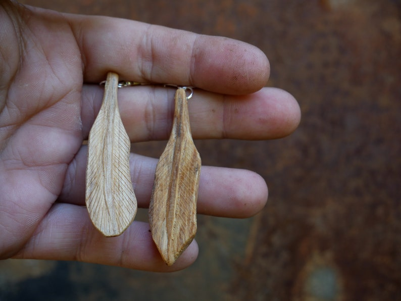 Earrings Hand Carved Wood Feather Palo Santo Sweet Smelling Wood Wood Carving Palosanto High Frequency EarWires