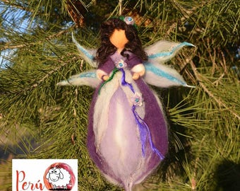 Fairy Waldorf Needle felting handmade Merino wool-fairy lilac-ornament-felted-Pendant