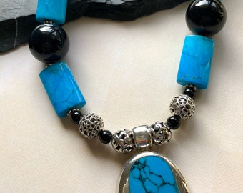 Sterling silver and turquoise pendant statement necklace. Chunky necklace.
