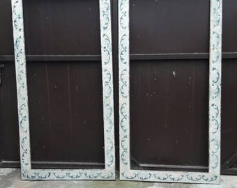 Pair of hand-painted frames with aged mirror.