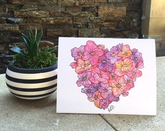 Watercolor Heart Flower Print Valentines Day Card Set of 6